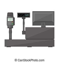 Cash register with display, payment terminal.