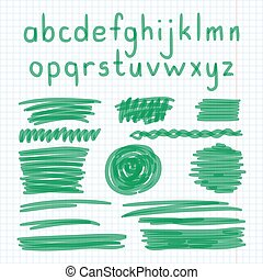 Marker Hand Written Doodle Letters And Symbols Vector -...
