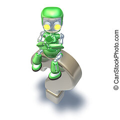 Confused Question Mark Cute Green Metal Robot - Confused...