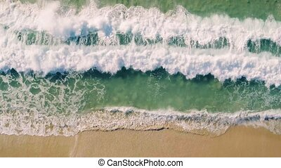 Aerial View Small Waves on Sandy Beach - Aerial View Amazing...