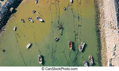 Aerial View Moored Fishing Boats in Harbor, Portugal