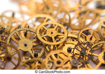 A pile of gears background. Many mechanisms. Old vintage...