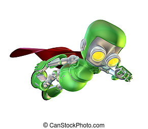 Cute green metal robot superhero character - A cute green...