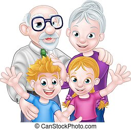 Kids and Grandparents - Family scene of kids and...