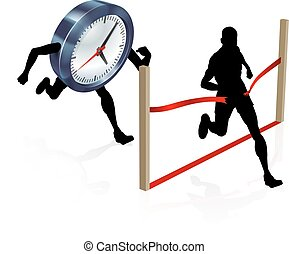 Beating Best Time - A man racing against a clock character...