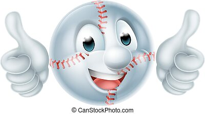 Softball Ball Man Cartoon Character