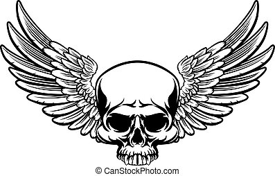 Winged Skull - A winged skull drawing in a vintage retro...