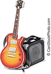 Classic electric guitar with amplifier