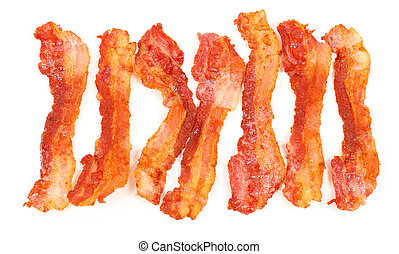 Slices of breakfast bacon isolated over white background