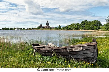 boat on the shore of the lake Museum reserve Kizhi - on a...