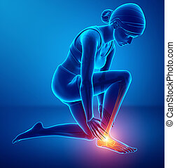 Female foot with ankle pain - 3d illustration of Female foot...