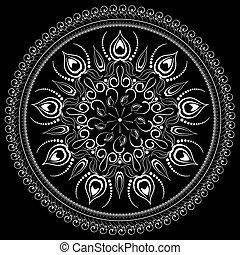 Black and white floral ornament.
