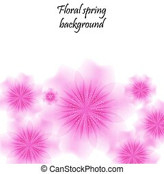 Pink spring background with translucent flowers.