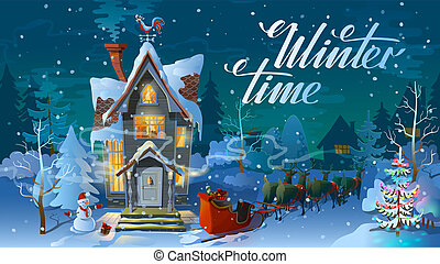 Winter time. Night of Christmas, the Family house before a...