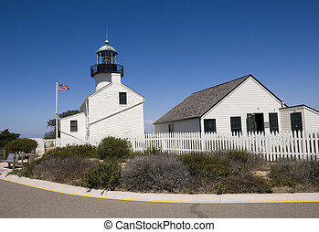 Historic Light House in Point Loma, California.