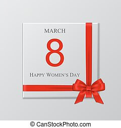 Women's day gift box with red ribbon and bow. Vector illustration.