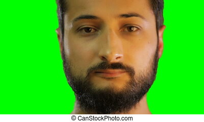 face of man smile on the green screen. croma key