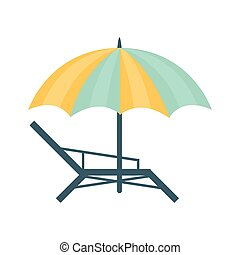 Metal Sunbed And Umbrella Of Blue And Yellow Colors, Part Of...