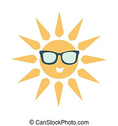 Simple Sun Icon With Face Wearing Dark Shade Glasses, Part Of Summer Beach Vacation Series Of Illustrations