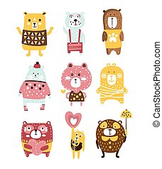 Cute Toy Bear Animals Set Of Childish Stylized Characters In Clothes In Creative Design