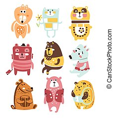 Cute Toy Bear Animals Collection Of Childish Stylized...
