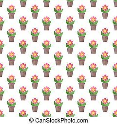 Pink flower seamless pattern. Flower in pot