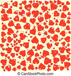 Red hearts diferent size round background template. Halftone...