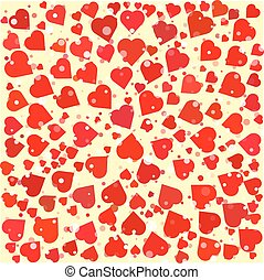 Hearts diferent size and color round background template....