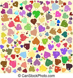 Hearts diferent colors round background template. Halftone...