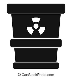Trashcan containing radioactive waste icon. Simple...