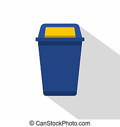 Blue plastic wastebasket icon, flat style - Blue plastic...
