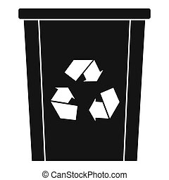 Trash bin with recycle symbol icon, simple style