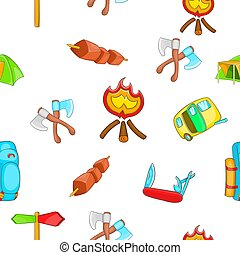 Campground pattern, cartoon style - Campground pattern....