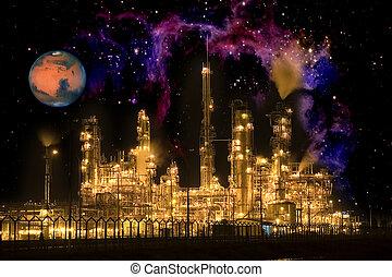 enterrar, galáctico, aceite, refinería