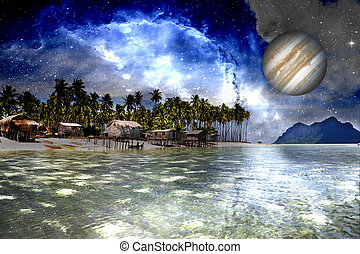 Inter Galactic Space Beach - Image of a inter-galactic space...