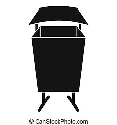 Litter waste bin icon, simple style