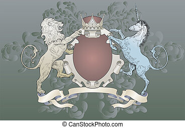 shield coat of arms lion, unicorn, crown - A shield coat of...
