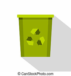 Green bin with recycle symbol icon, flat style