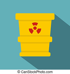 Ttrashcan containing radioactive waste icon - Yellow...