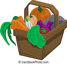 vegetables and produce in basket - Basket of vegetable...