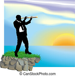 telescope business concept illustration - Conceptual piece....