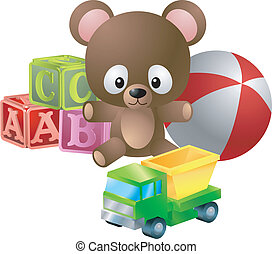 toys illustration - An illustration of classic childrens...