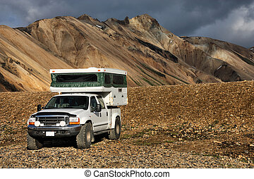 Off-road camper - Beautiful mountains in Iceland. Famous...