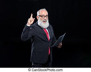 Senior businessman in eyeglasses - Happy senior bearded...