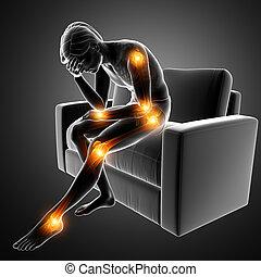 men joint pain - 3d Illustration of men joint pain