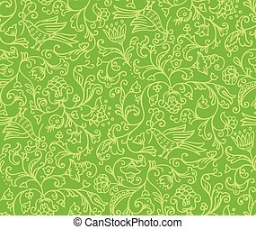 Seamless Floral Pattern Background With Birds and Flowers