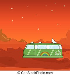Vector hovercraft van on a foreign planet illustration