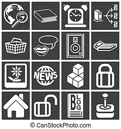 internet, tela, icono, serie, Conjunto