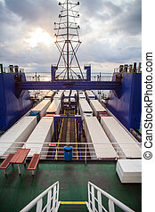 Trucks on ferry boat - Color image of some trucks loaded on...