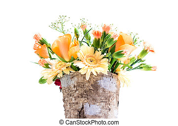 Pot with a flower bouquet - Brown pot made of tree corc with...